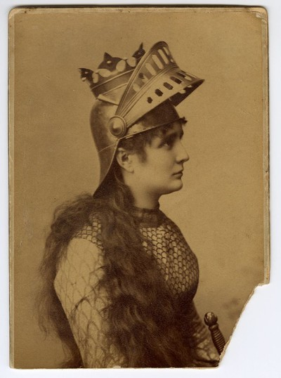 Studio portrait of Vela Nigrinova in character as 'Joan of Arc'