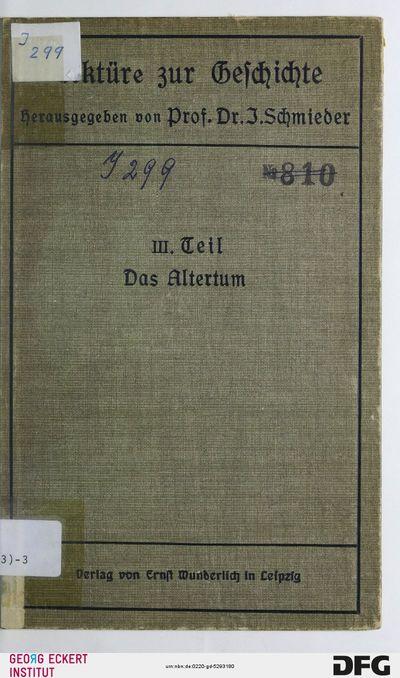 Das Altertum : aus Meisterwerken deutscher Geschichtschreibung; für höhere Lehranstalten, Teil 3