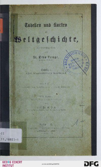 Zur biographischen Vorstufe, Tab. 1