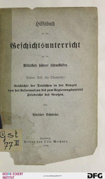 Geschichte der Deutschen in der Neuzeit von der Reformation bis zum Regierungsantritt Friedrichs des Großen, T. 3 = Obertertia
