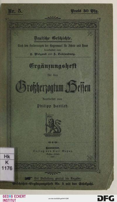 Ergänzungsheft für das Großherzogtum Hessen, Erg.-H. 5