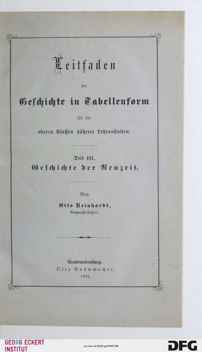 Geschichte der Neuzeit : für die oberen Klassen höherer Lehranstalten, Th. 3