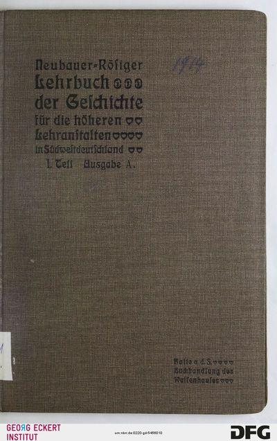 Geschichte des Altertums für Quarta (Lehrbuch der Geschichte für die höheren Lehranstalten in Südwestdeutschland, Teil 1)