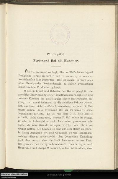 IV. Capitel. Ferdinand Bol als Künstler.