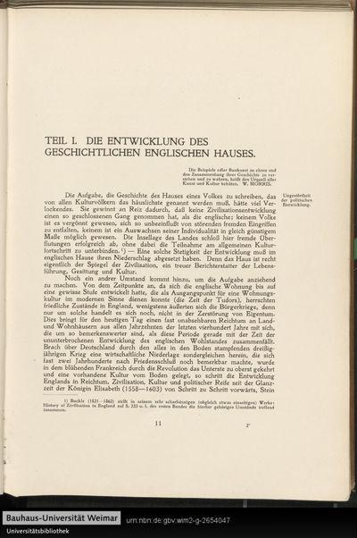 Teil I. Die Entwicklung des geschichtlichen englischen Hauses.