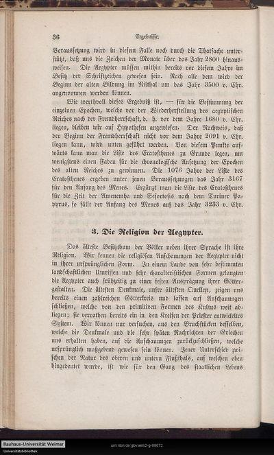 3. Die Religion der Aegypter.