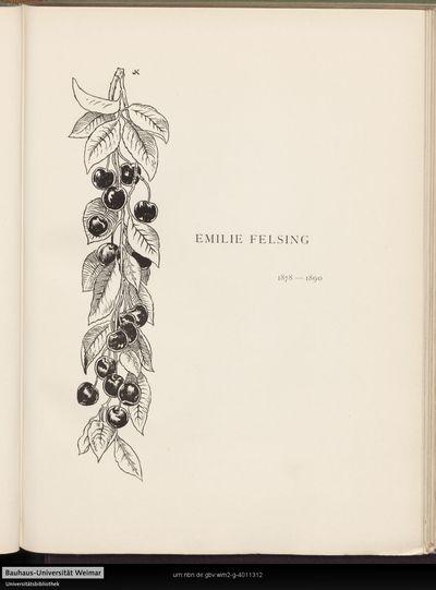Emilie Felsing 1878-1890