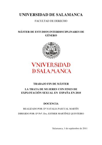 La trata de mujeres con fines de explotación sexual en España 2010