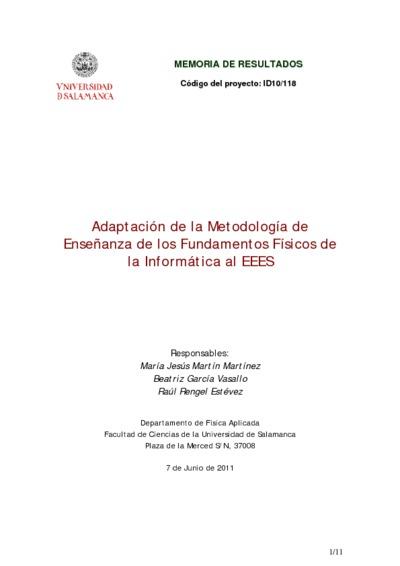 Omnia Adaptación De La Metodología De Enseñanza De Los Fundamentos Físicos De La Informática Al Eees