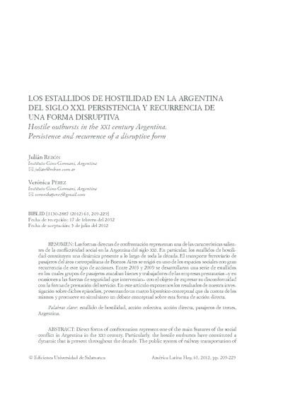 Los estallidos de hostilidad en la Argentina del siglo XXI. Persistencia y recurrencia de una forma disruptiva