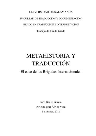 Metahistoria y Traducción : el caso de las Brigadas Internacionales