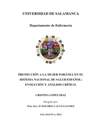 Protección a la mujer foránea en el sistema nacional de salud español: evolución y análisis crítico