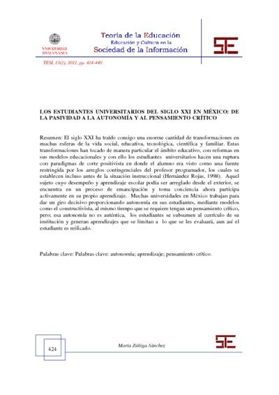Los estudiantes universitarios del siglo XXI en México: de la pasividad a la autonomía y al pensamiento crítico