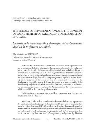 La teoría de la representación y el concepto del parlamentario ideal en la Inglaterra de Isabel I