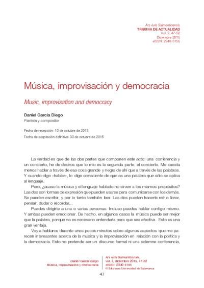 Música, improvisación y democracia