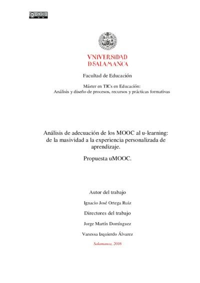 Análisis de adecuación de los MOOC al u-learning: de la masividad a la experiencia personalizada de aprendizaje. Propuesta uMOOC