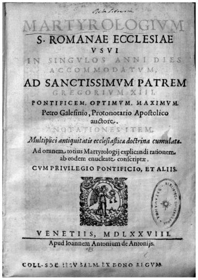 Martyrologium S. Romanae Ecclesiae vsui in singulos anni dies accommodatum