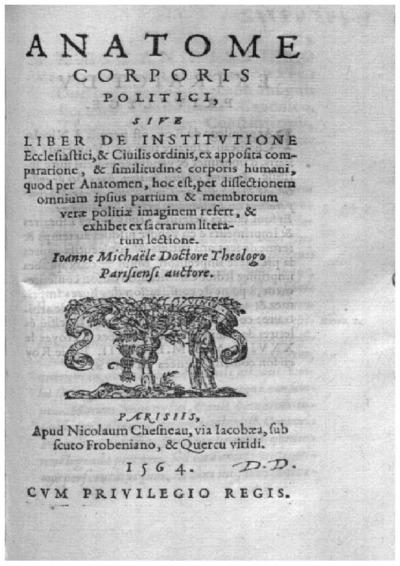 Anatome corporis politici, siue Liber de institutione Ecclesiastici, et Ciuilis ordinis