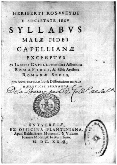 Heriberti Ros-Vveydi e Societate Iesu Syllabus malae fidei capellianae