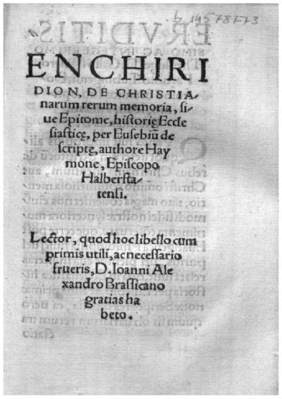 Enchiridion, De christianarum rerum memoria siue Epitome historie ecclesiastice