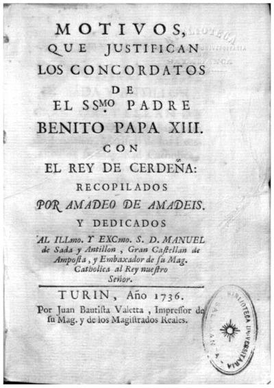 Motivos que justifican los concordatos de el SSmo. Padre Benito Papa XIII con el rey de Cerdeña