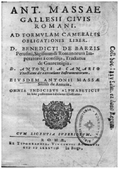 Ant. Massae Gallesii ciuis Romani, Ad formulam cameralis obligationis liber