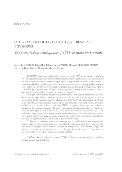 O terramoto de Lisboa de 1755: tremores e temores