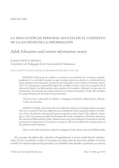 La educación de personas adultas en el contexto de la sociedad de la información