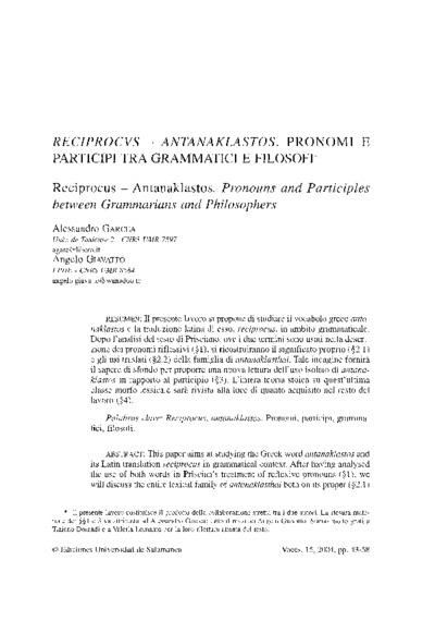 Reciprocus - antanaklastos. Pronomi e participi tra grammatici e filosofi