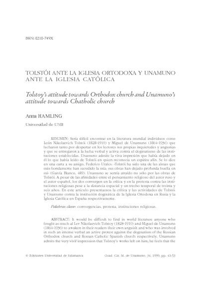 Tolstói ante la Iglesia Ortodoxa y Unamuno ante la Iglesia Católica