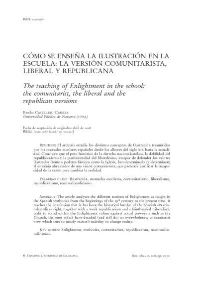 Cómo se enseña la Ilustración en la escuela:la versión comunitarista, liberal y republicana
