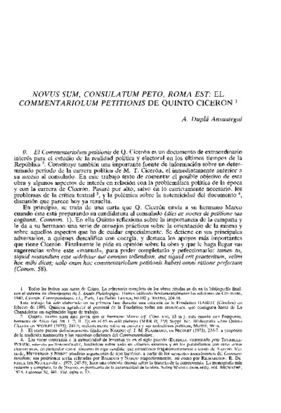 Novus sum, consulatum peto, Roma est: el commentariolum petitionis de Quinto Cicerón