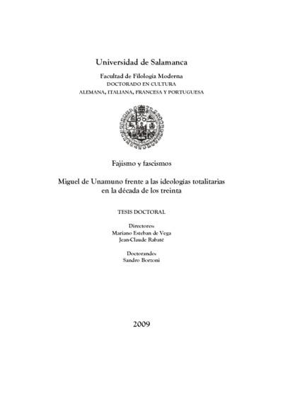 Miguel de Unamuno frente a las ideologías totalitarias en la década de los treinta