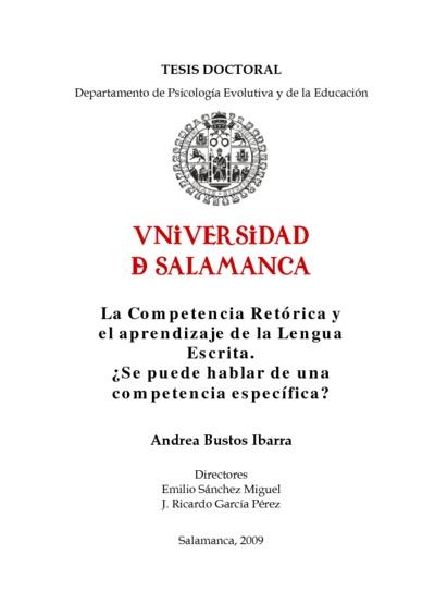 La Competencia Retórica y el aprendizaje de la Lengua Escrita. ¿Se puede hablar de una competencia específica?