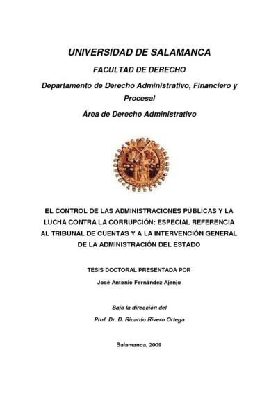 El control de las Administraciones Públicas y la lucha contra la corrupción: especial referencia al Tribunal de Cuentas y a la intervención general de la Administración del Estado