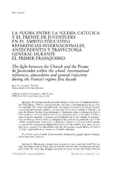 La pugna entre la Iglesia Católica y el Frente de Juventudes en el ámbito educativo. Referencias internacionales, antecedentes y trayectoria general durante el primer franquismo