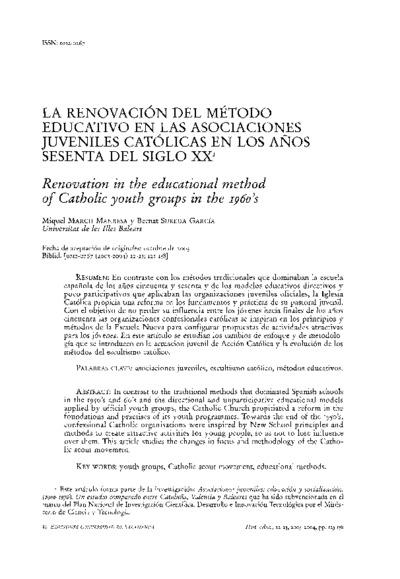 La renovación del método educativo en las asociaciones juveniles católicas en los años sesenta del siglo XX