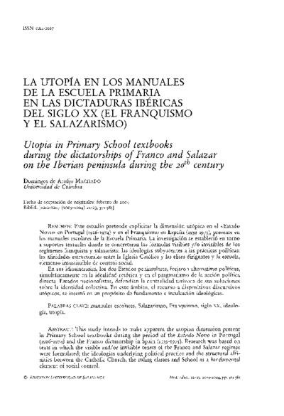 La utopía en los manuales de la escuela primaria en las dictaduras ibéricas en el siglo XX (el franquismo y el salazarismo)