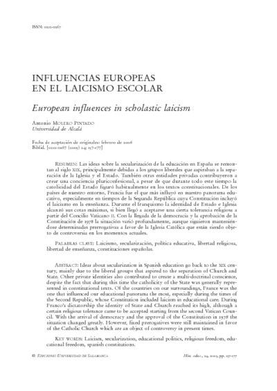 Influencias europeas en el laicismo escolar
