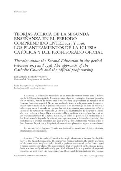 Teorías acerca de la segunda enseñanza en el periodo comprendido entre 1923 y 1936. Los planteamientos de la Iglesia católica y del profesorado oficial