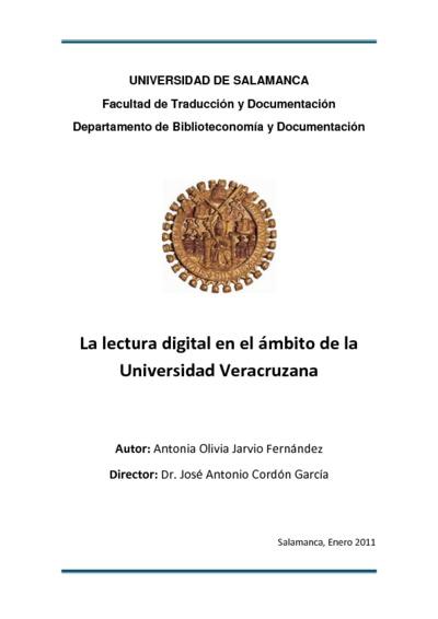 La lectura digital en el ámbito de la Universidad Veracruzana