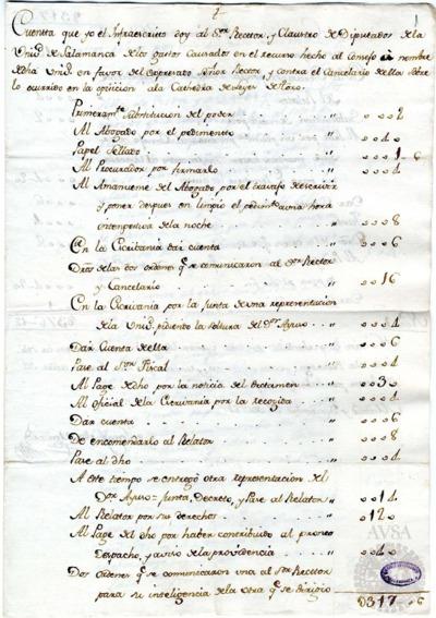 Borrador de la Junta de abastos celebrada el 18 de marzo de 1782