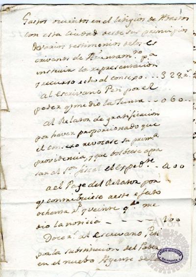 Borrador de la Junta de abastos celebrada el 19 de marzo de 1782