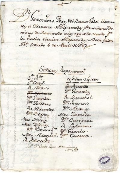 Borrador del Claustro de diputados celebrado el 7 de abril de 1782