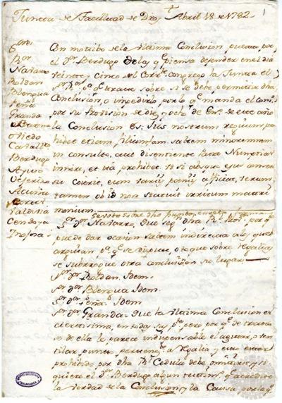 Borrador de la Junta de la Facultad de Derechos celebrada el 18 de abril de 1782
