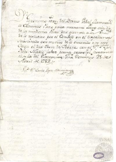Borrador del Claustro pleno celebrado el 22 de abril de 1782