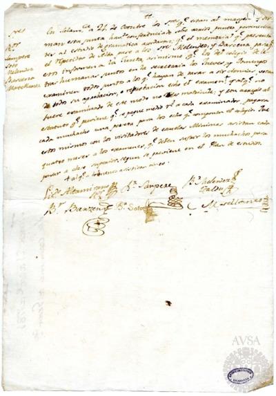 Borrador de la Junta sobre los estudios de Gramática, celebrada el 21 de octubre de 1781