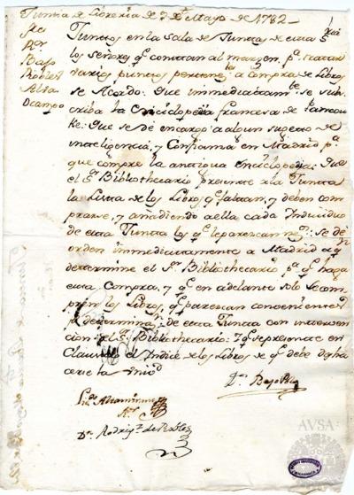 Borrador de la Junta de Librería celebrada el 9 de mayo de 1782