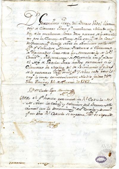 Borrador del Claustro pleno y Claustro de diputados celebrados el 15 de junio de 1782