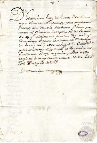 Borrador del Claustro de diputados celebrado el 21 de junio de 1782
